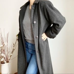 Vintage Dark Grey Wool Blend Long Coat Size 12